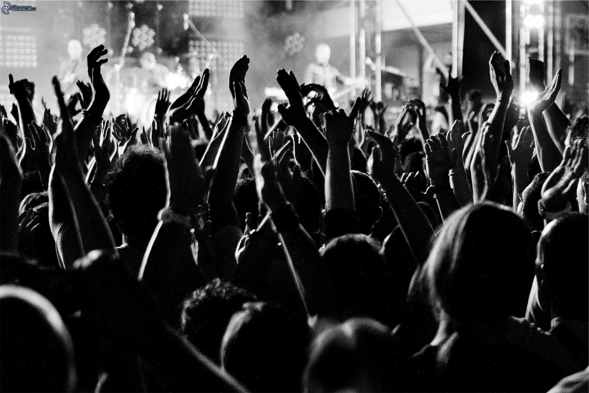Concert crowd hands black and white - photo#7