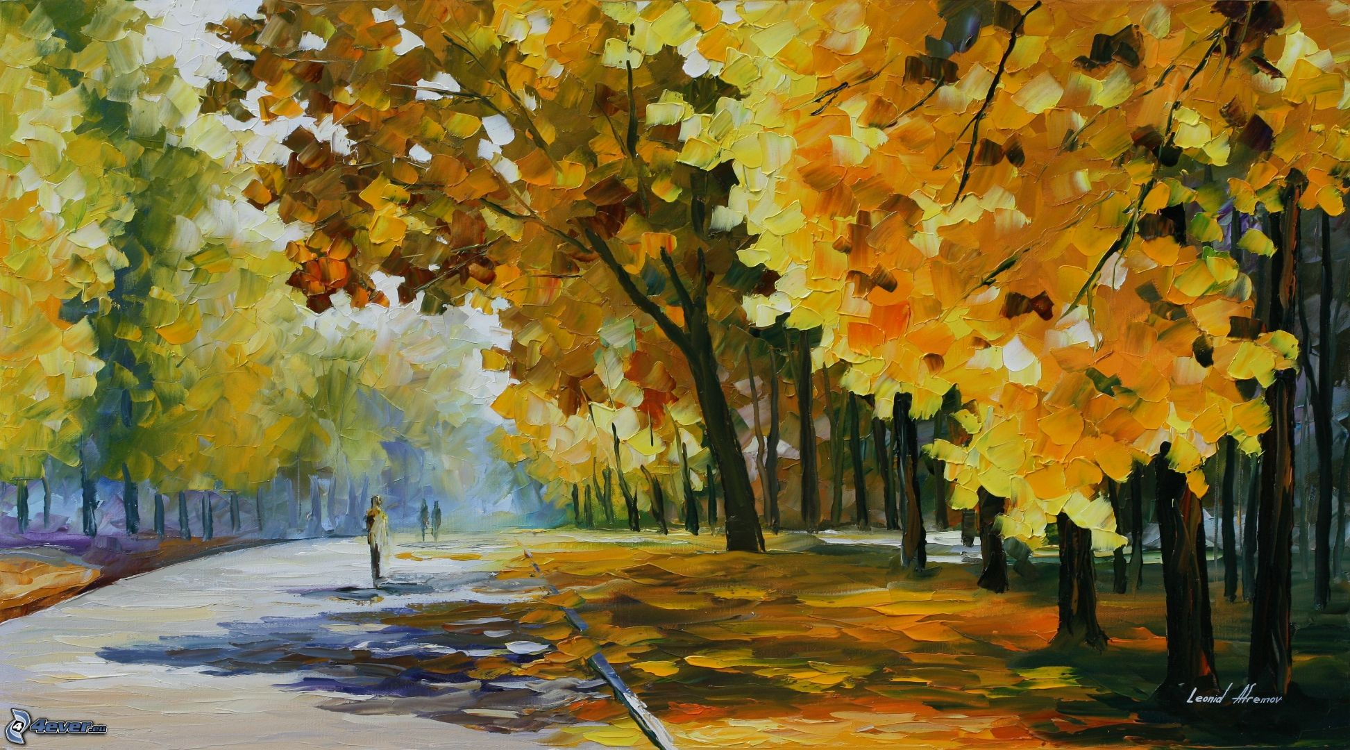 Oil Paintings of Fall Trees Autumn Trees Road Oil Painting