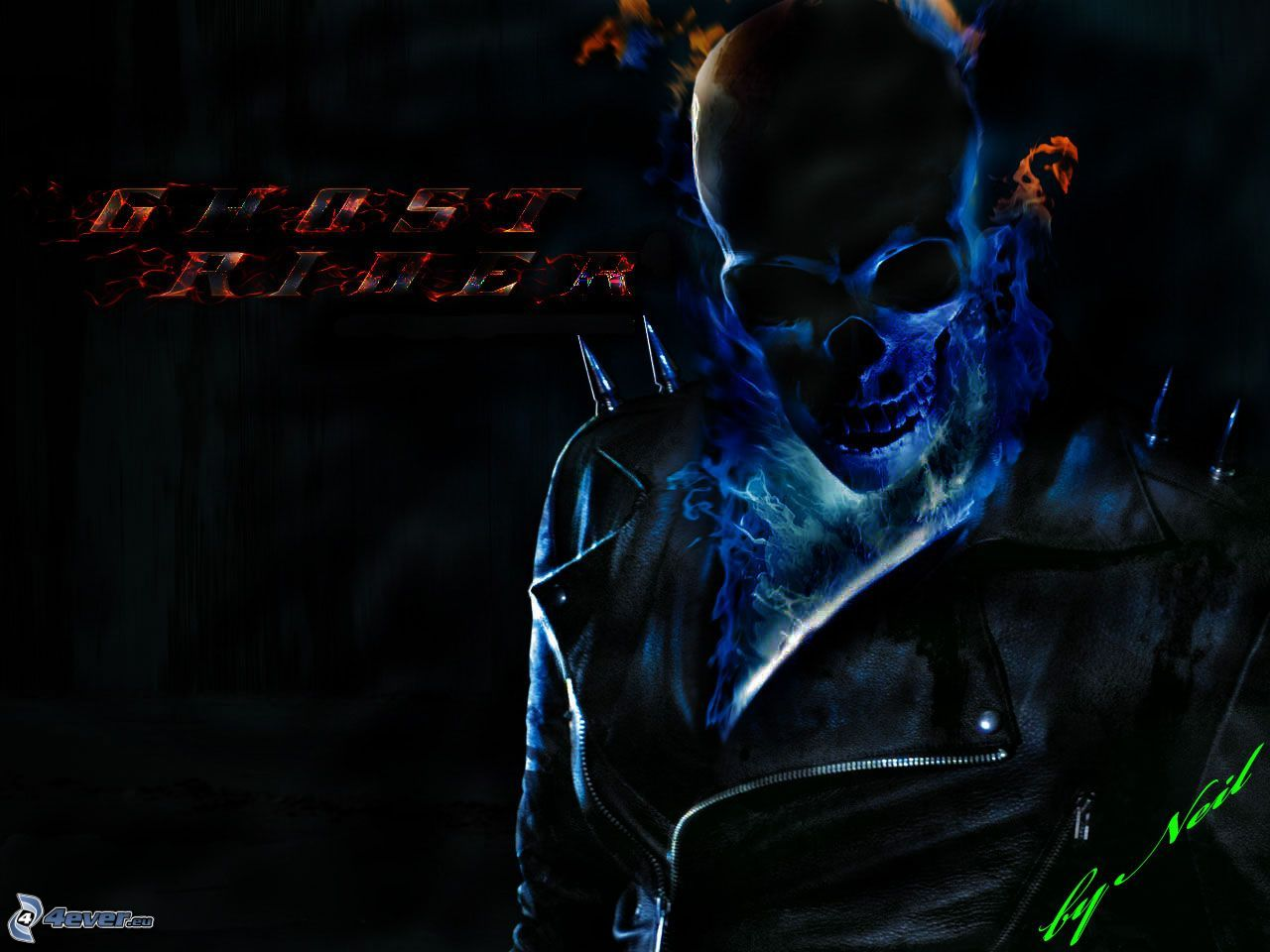 Ghost Rider, skull, leather jacket