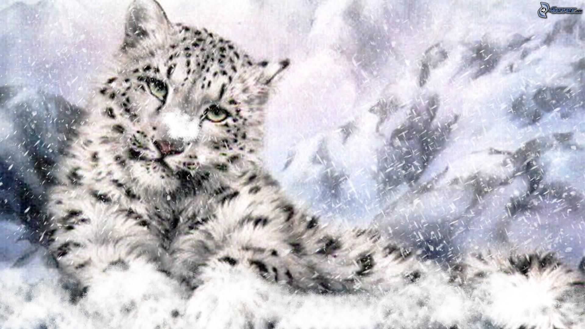 Cartoon snow leopard - photo#25