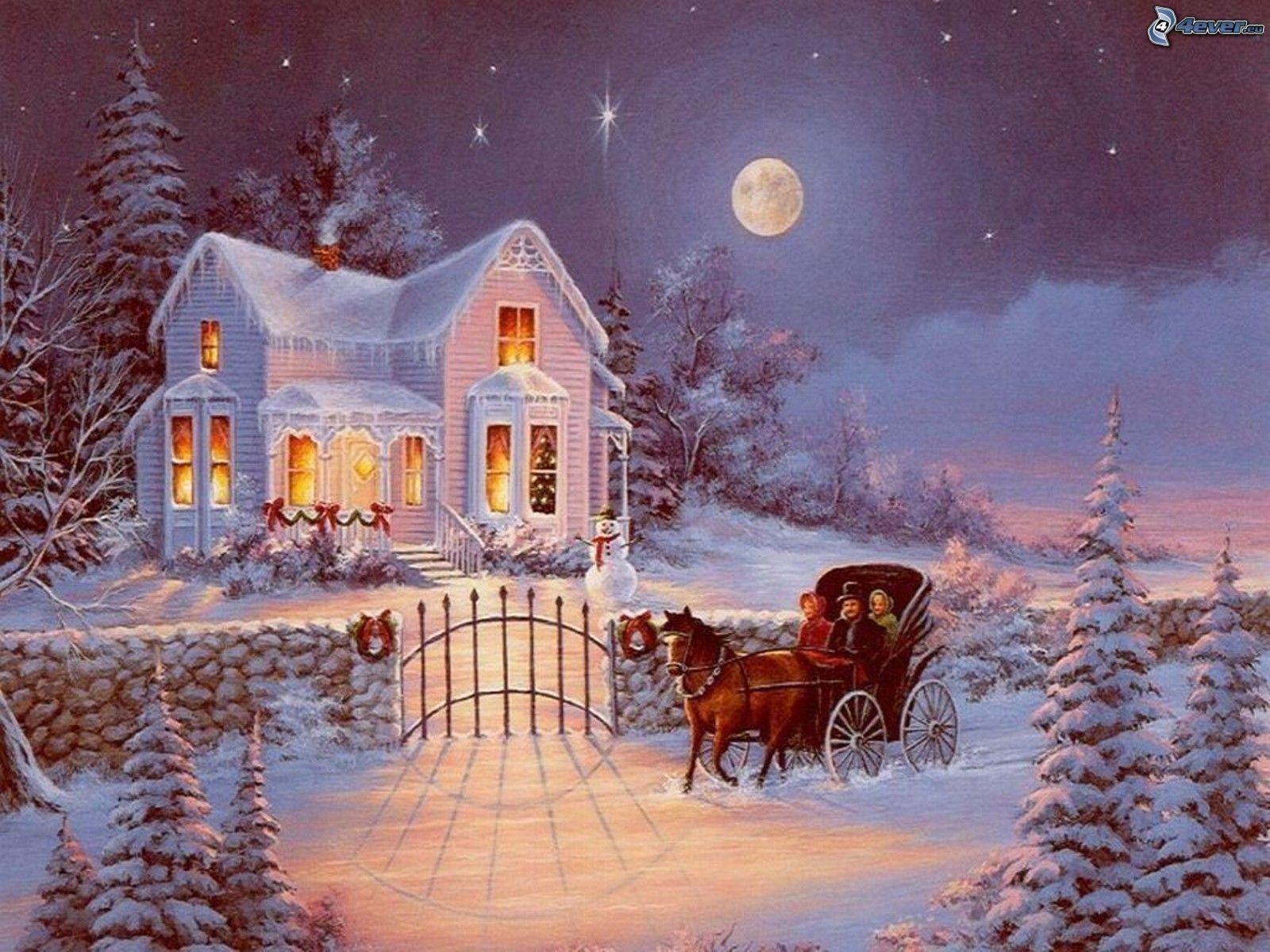 snowy house. Black Bedroom Furniture Sets. Home Design Ideas