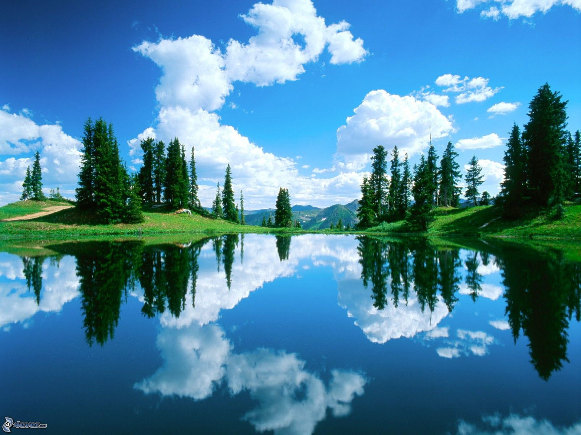 sky blue mountain reflection - photo #42