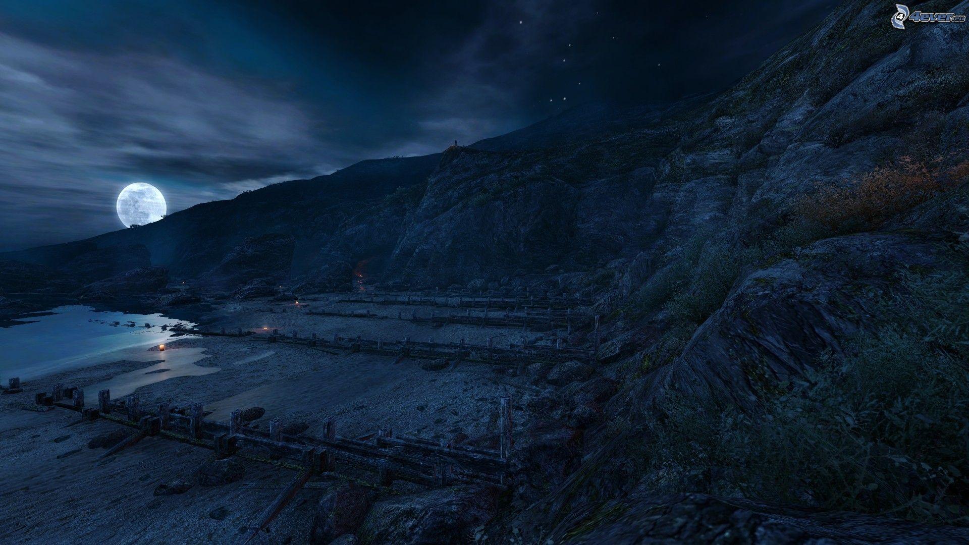 original landscape moon night - photo #35